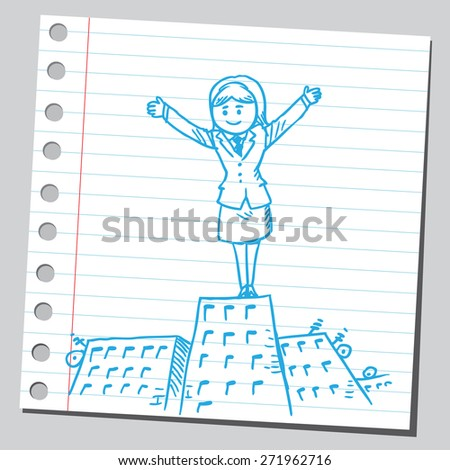 Businesswoman stand on top of building - stock vector