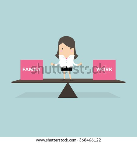 Businesswoman standing balance life with family and work vector - stock vector