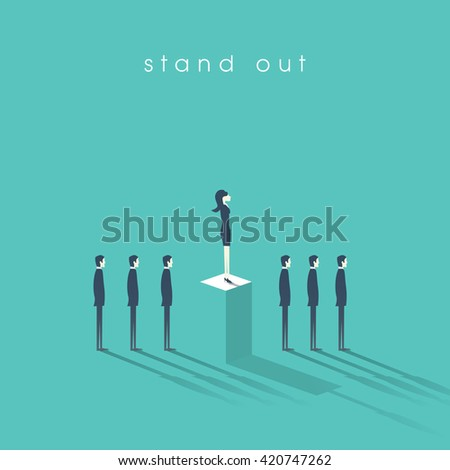 Businesswoman standing out from the crowd business concept with businessmen in line. Talent or special skills symbol. Business concept of equal opportunities. Eps10 vector illustration. - stock vector