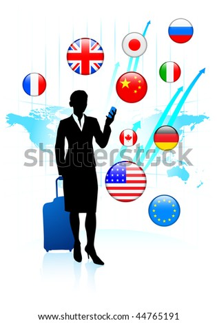 Businesswoman traveler with Internet Flag Buttons Original Vector Illustration - stock vector