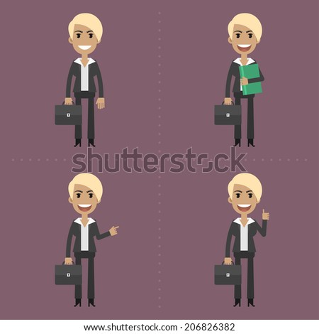 Businesswoman with briefcase in different poses - stock vector
