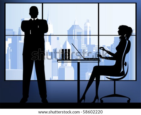 Businesswoman with businessman in the urban background. All elements and textures are individual objects. Vector illustration scale to any size.