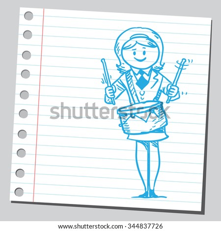 Businesswoman with drums - stock vector