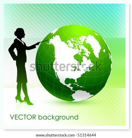 Businesswoman with Globe on Vector Background Original Illustration