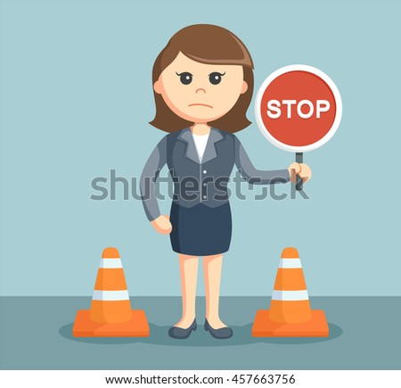businesswoman with stop sign