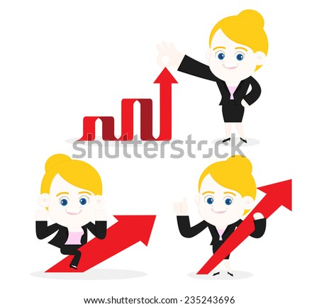 Businesswoman with up arrows