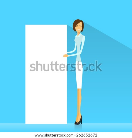 businesswoman with white board, signboard, showing an empty copy space, business woman cartoon flat vector illustration - stock vector