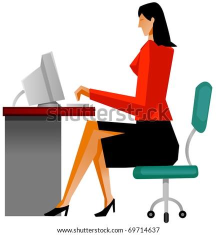 businesswoman working - stock vector