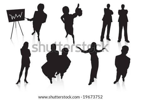 Businesswomen and businessmen. Vector. - stock vector
