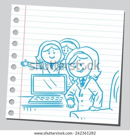 Businesswomen in office - stock vector