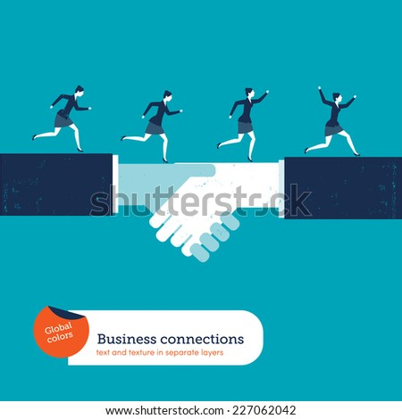 Businesswomen running on a handshake. Vector illustration Eps10 file. Global colors. Text and Texture in separate layers. - stock vector