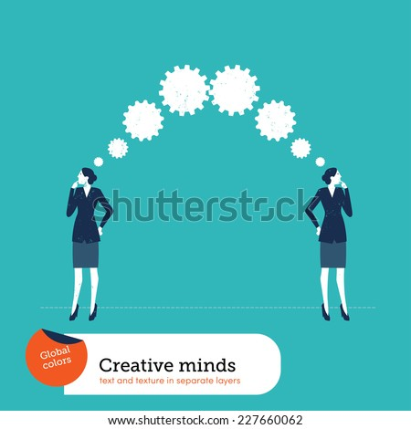 Businesswomen thinking gears. Vector illustration Eps10 file. Global colors. Text and Texture in separate layers. - stock vector