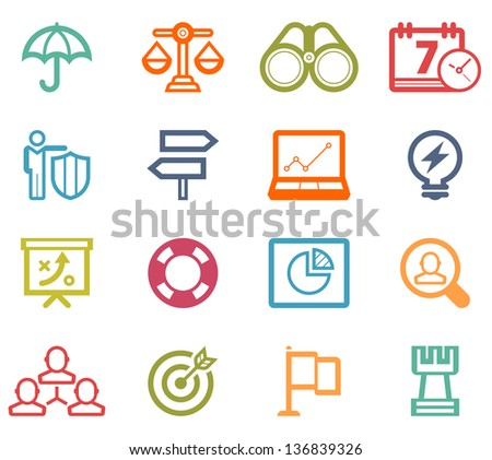 Bussiness Strategy Icon Set - stock vector