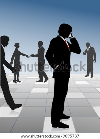 Busy business people network and connect on a reflection grid: call; meet; walk; make appointments; hurry to meetings. Get busy people! - stock vector