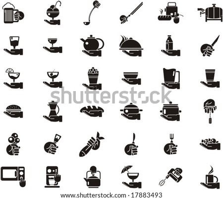 Busy Hands Icons - food and kitchen - stock vector