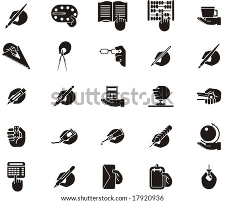 Busy Hands Icons - stationery, education - stock vector