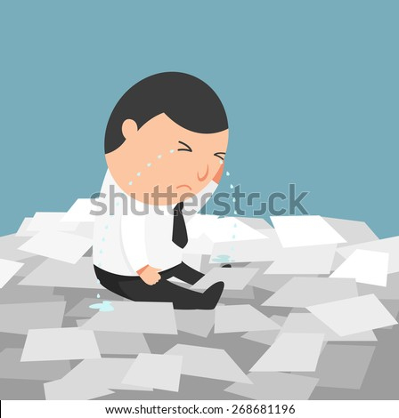 Busy life of businessman-the man crying because of having to do too much works.illustration,vector - stock vector