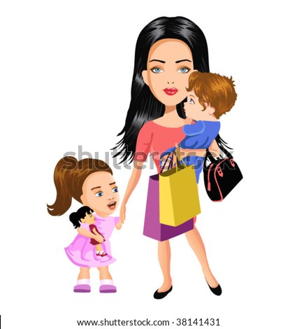 busy mother with children - stock vector