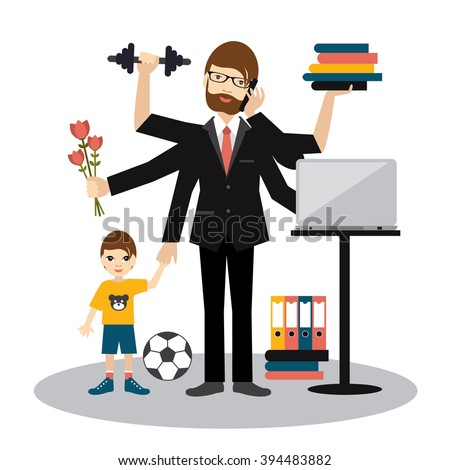 Busy multitasking man, father, dad, daddy, romantic husband, businessman, worker. Young man with son, working, calling and doing exercise at the gym. Flat vector. - stock vector