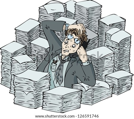 Busy office worker during backlog in the center of paper pile - stock vector