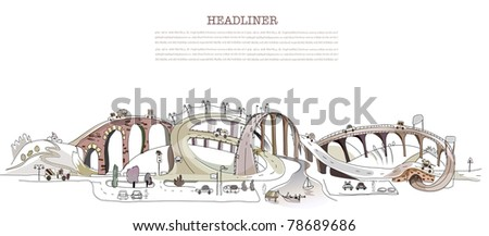 busy roads illustration - stock vector