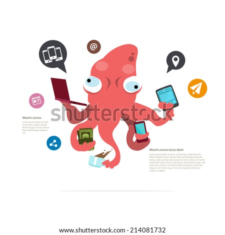 busy squid character. management concept. social network icon - vector illustration - stock vector