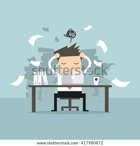 Busy time of businessman in hard working. A lot of work. Stress at work. vector - stock vector