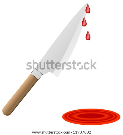 butcher knife with blood dripping from blade into pool of blood - vector - stock vector