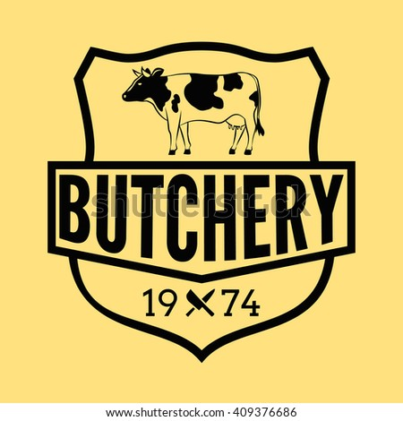 Butcher shop badge/Label For hipster signage, prints and stamps. Butchery with cow and knifes
