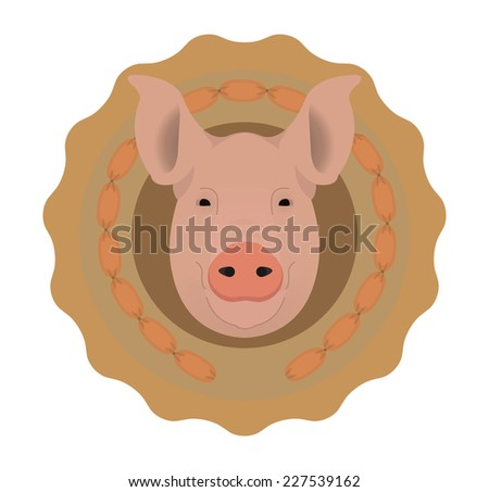 Butchery organic food vector logo. Big pink pig head in tasty wieners circle. Color illustration isolated on  white. No outline - stock vector