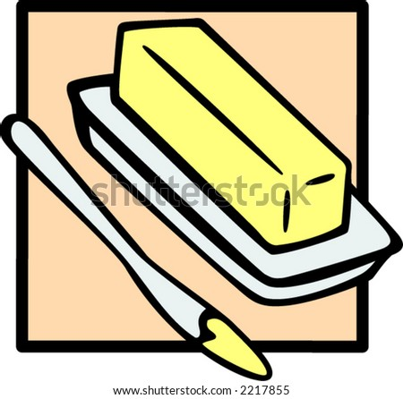 butter and knife - stock vector