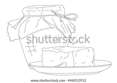 Butter and marmalade illustration. Isolated on white.
