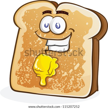Buttered Toast Cartoon Character - stock vector