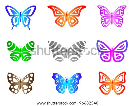 Butterflies Abstract A set of 9 Butterflies. Style = Abstract / Clean.  This image contains transparencies. File saved as EPS version 10. - stock vector