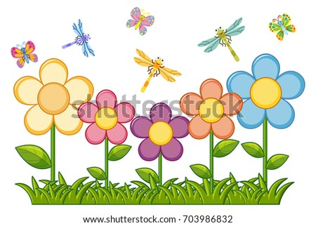 butterflies dragonflies flower garden illustration stock vector rh shutterstock com flower garden clip art images flower garden clip art black and white
