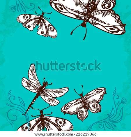 Butterflies and dragonflies insects blue background with floral ornament vector illustration - stock vector