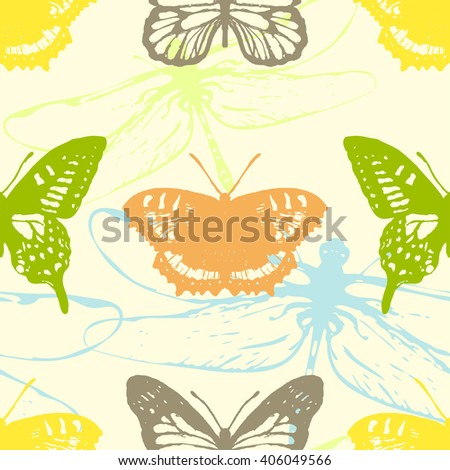Butterflies and Dragonflies. Seamless pattern. Insect wallpaper. Vector illustration.