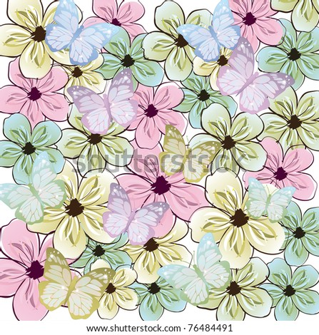 butterflies and flowers decoration background - stock vector