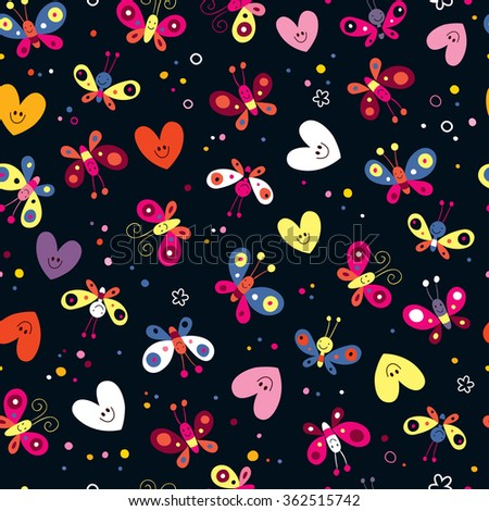 butterflies and hearts seamless pattern - stock vector
