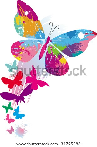 Butterflies and line brushes - stock vector