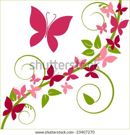 butterflies and vine - stock vector