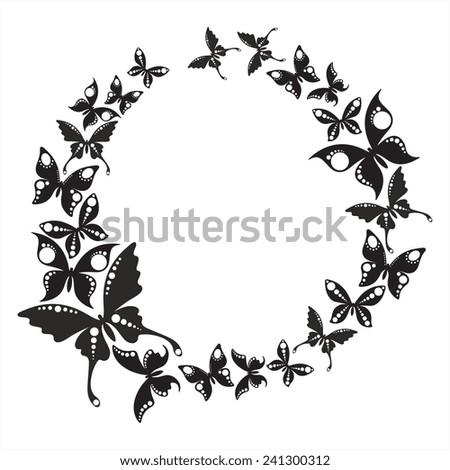Butterflies circle - stock vector