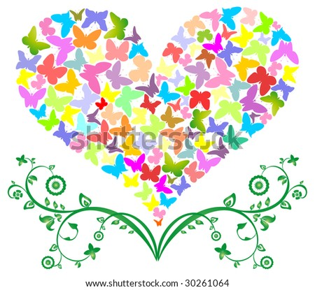 Butterflies col our take off from a flower - stock vector