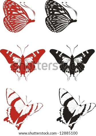 Butterflies. Elements for design. Vector illustration. - stock vector