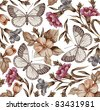 Butterflies. Flowers. Vector. Beautiful background with a flower ornament. - stock vector