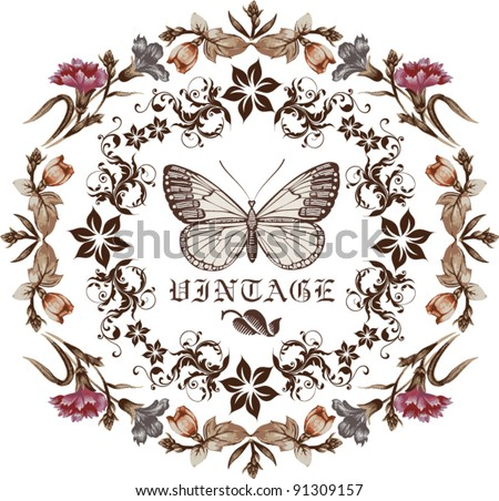 Butterflies. Flowers. Vector. Beautiful background with a flower ornament.