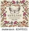 Butterflies. Flowers. Vector. Vintage floral frame. - stock photo