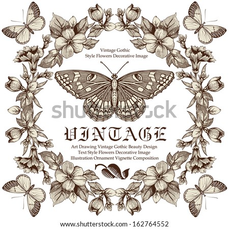Butterflies. Flowers. Vector. Vintage floral frame. - stock vector