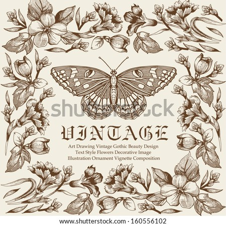 Butterflies. Flowers. Vintage floral frame. Freehand. Drawing, engraving. Blooming flowers. Vector stock Illustration. - stock vector