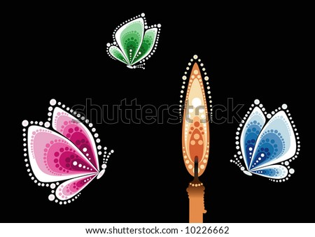 Butterflies flying on light of candle - stock vector